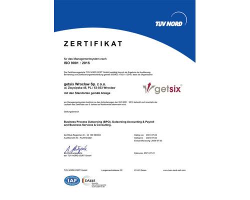 Zertifikat der ISO 9001